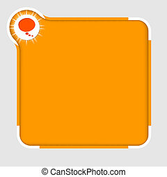 orange abstract text frame for text with speech bubble