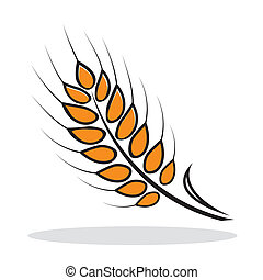 Orange abstract wheat with grey shadow. Autumnal icon. Vector illustration