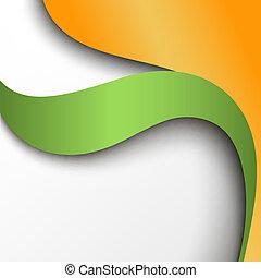 orange, abstrakt, papier, grüner hintergrund