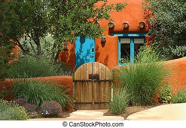 Santa Fe cottage - orange adobe Santa Fe cottage...