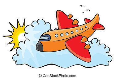 Orange aeroplane - Illustration of colorful aeroplane over...