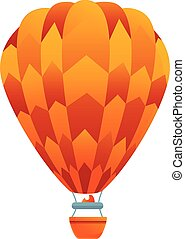 Orange air balloon icon, cartoon style