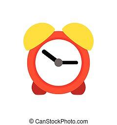 Orange alarm clock icon, flat style