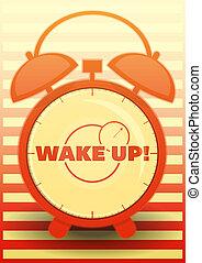 Orange Alarm Clock with text: Wake up!