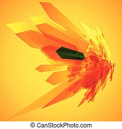 Orange and a green arrows in motion vector