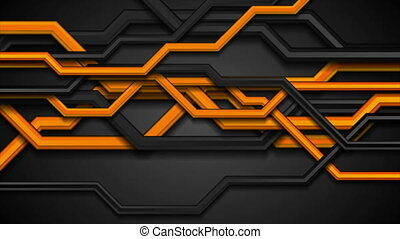 Orange and black 3d circuit board lines abstract tech motio background. Seamless looping. Video animation Ultra HD 4K 3840x2160