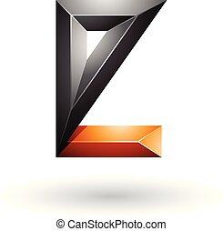 Orange and Black 3d Geometrical Embossed Letter E Vector Illustration