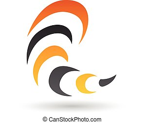 Orange and Black Abstract Icon