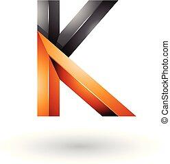 Orange and Black Glossy 3d Geometrical Letter K Vector Illustration