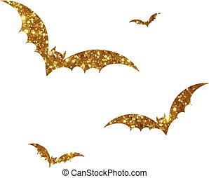 Orange and black Halloween design element bat