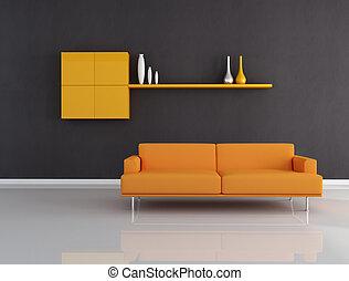 orange and black interior