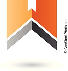 Orange and Black Letter W with a Thick Stripe Vector Illustration