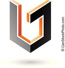 Orange and Black Shield Like 3d Shape Vector Illustration
