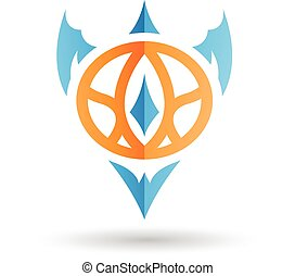 Orange and Blue Abstract Icon