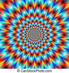 Orange and Blue Chrysanthemum - Digital abstract fractal...