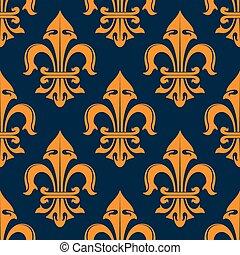 Orange and blue fleur-de-lis seamless pattern