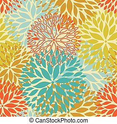flower seamless pattern - Orange and blue flower seamless...