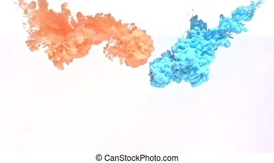 Orange and Blue Ink in Water