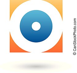 Orange and Blue Square Icon of a Thick Letter O Vector Illustration