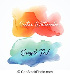 orange and blue watercolor ink stain background