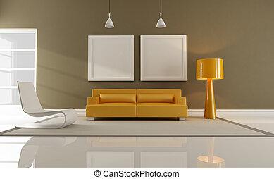 orange and brown interior