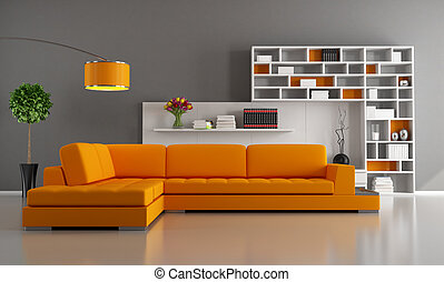 Orange and brown living room - Contemporary livingroom with...