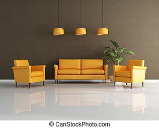 orange and brown lounge