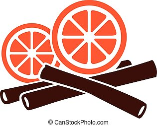 Orange and cinnamon sticks