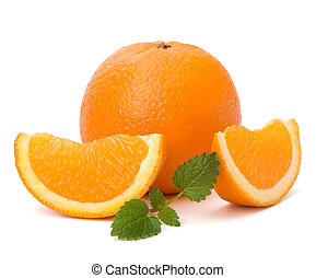 Orange and citron mint leaf isolated on white background