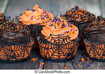 Orange and dark chocolate Halloween cupcakes