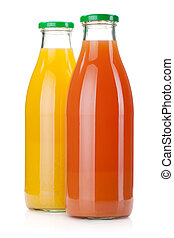 Orange and grapefruit juice bottles