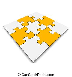 Orange and gray jigsaw puzzle. 3d rendered illustration.
