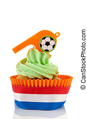 Orange and green cupcake