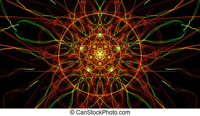 Orange and green fractal circle on black background