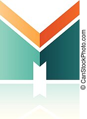 Orange and Green Letter M with a Thick Stripe and Reflection Vector Illustration
