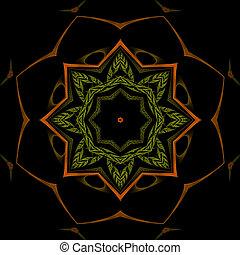Orange and Green Mandala Star
