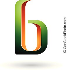 Orange and Green Shaded Letter B Vector Illustration