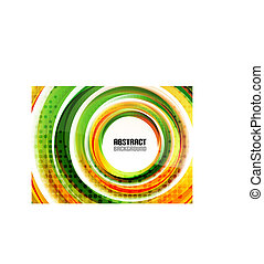 Orange and green swirl shapes modern background