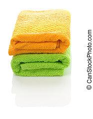 orange and green towels