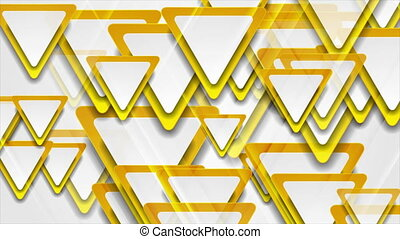 Orange and grey glossy triangles abstract geometric motion background. Seamless looping. Video animation Ultra HD 4K 3840x2160