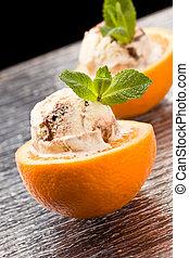 Orange and Ice Cream - Dessert - photo of cutted orange with...