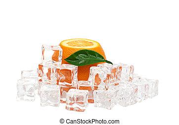Orange and ice cubes