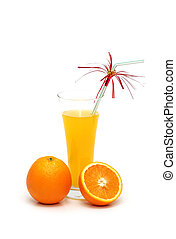 Orange and juice isolated on the white