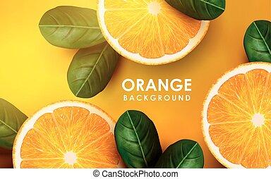 orange and leaves - sliced orange with pulp and leaf ...