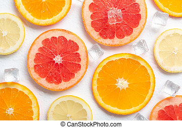 orange and lemon grapefruit slices