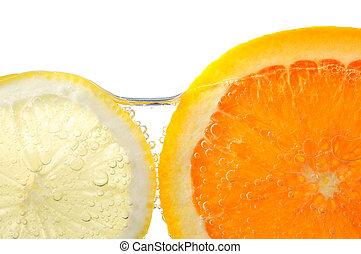 Orange and lemon slices in water