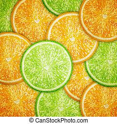 Orange and lime fruit slices background