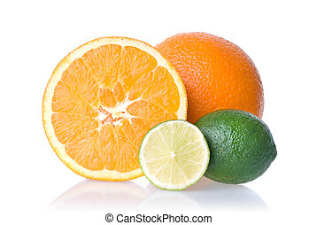 orange and lime isolated on white