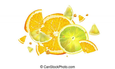 Orange and lime slices in slow motion on the alpha channel.
