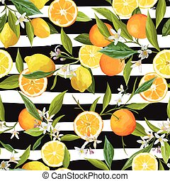 Orange and Limon Seamless Tropical Pattern in Vector. ...